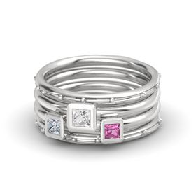 Princess White Sapphire Sterling Silver Ring with Pink Sapphire and Diamond