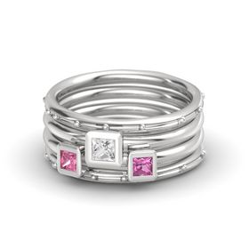 Princess White Sapphire Sterling Silver Ring with Pink Sapphire and Pink Tourmaline