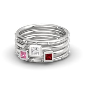 Princess White Sapphire Sterling Silver Ring with Ruby and Pink Tourmaline