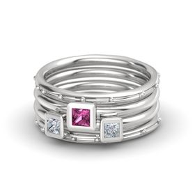Princess Pink Sapphire Sterling Silver Ring with Diamond