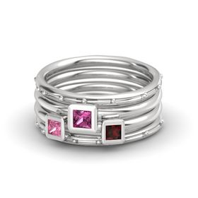 Princess Pink Sapphire Sterling Silver Ring with Red Garnet and Pink Tourmaline