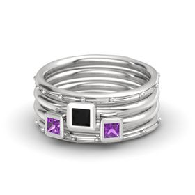 Princess Black Onyx Sterling Silver Ring with Amethyst