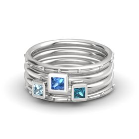 Princess Blue Topaz Sterling Silver Ring with London Blue Topaz and Aquamarine
