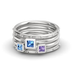 Princess Blue Topaz Sterling Silver Ring with Iolite & Blue Topaz