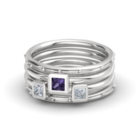 Princess Iolite Sterling Silver Ring with Diamond