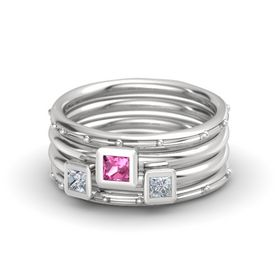 Princess Pink Tourmaline Sterling Silver Ring with Diamond