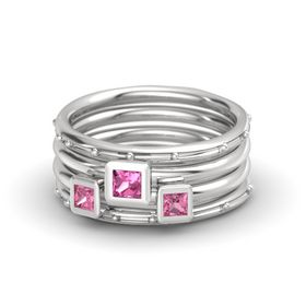 Princess Pink Tourmaline Sterling Silver Ring with Pink Tourmaline