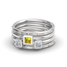 Princess Yellow Sapphire Sterling Silver Ring with Diamond