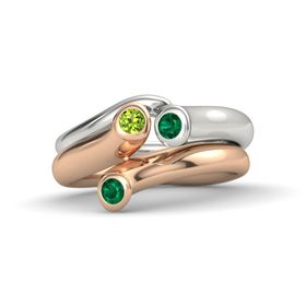 Round Emerald 14K Rose Gold Ring with Peridot and Emerald