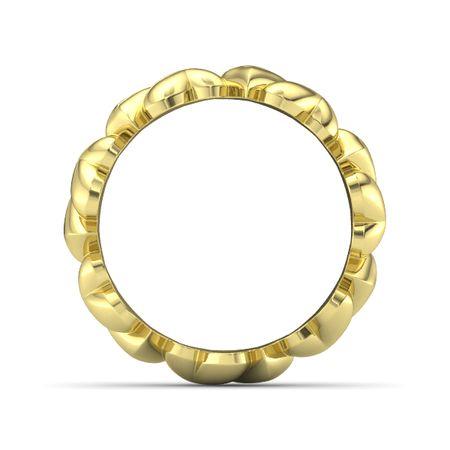 14K Yellow Gold Ring Big Band of Hearts