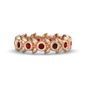 Round Red Garnet 14K Rose Gold Ring with Ruby