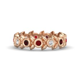 Round White Sapphire 14K Rose Gold Ring with Red Garnet and Ruby
