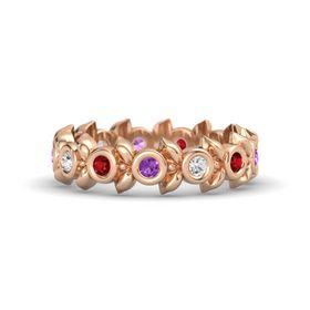Round White Sapphire 14K Rose Gold Ring with Ruby and Amethyst