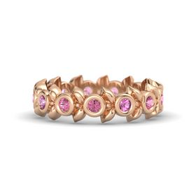 Round Pink Sapphire 14K Rose Gold Ring with Pink Tourmaline