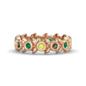 Round Alexandrite 14K Rose Gold Ring with Emerald and Peridot