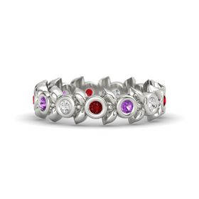 Round Amethyst 14K White Gold Ring with White Sapphire and Ruby
