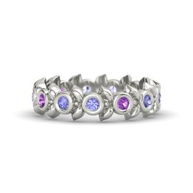 Round Amethyst 14K White Gold Ring with Tanzanite