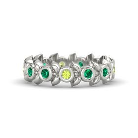 Round Emerald 14K White Gold Ring with Emerald and Peridot