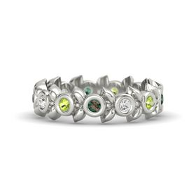 Round White Sapphire 14K White Gold Ring with Peridot and Alexandrite
