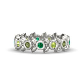Round Peridot 14K White Gold Ring with Green Tourmaline and Emerald