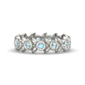 Round Aquamarine 14K White Gold Ring with Aquamarine and Blue Topaz