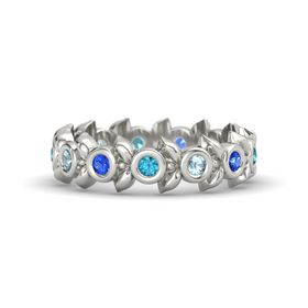 Round Aquamarine 14K White Gold Ring with Sapphire & London Blue Topaz