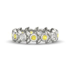 Round Yellow Sapphire 14K White Gold Ring with White Sapphire & Yellow Sapphire