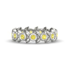 Round Yellow Sapphire 14K White Gold Ring with Yellow Sapphire