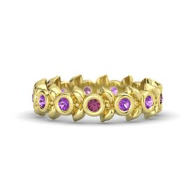 Round Amethyst 14K Yellow Gold Ring with Amethyst and Rhodolite Garnet