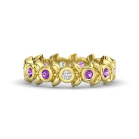Round Amethyst 14K Yellow Gold Ring with Amethyst and White Sapphire
