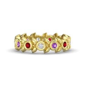 Round Amethyst 14K Yellow Gold Ring with Ruby and White Sapphire