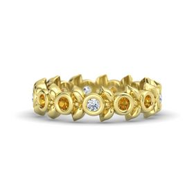 Round Citrine 14K Yellow Gold Ring with Citrine and Diamond