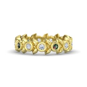 Round Alexandrite 14K Yellow Gold Ring with Diamond