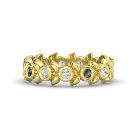Round Alexandrite 14K Yellow Gold Ring with White Sapphire