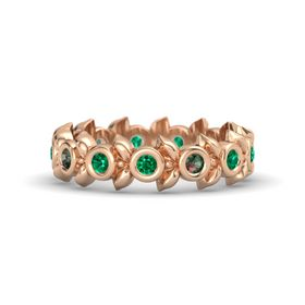 Round Alexandrite 18K Rose Gold Ring with Emerald