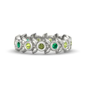 Round Emerald 18K White Gold Ring with Peridot and Green Tourmaline