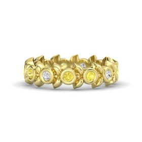 Round Yellow Sapphire 18K Yellow Gold Ring with White Sapphire and Yellow Sapphire