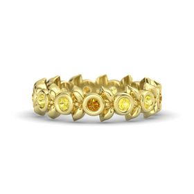 Round Yellow Sapphire 18K Yellow Gold Ring with Yellow Sapphire and Citrine