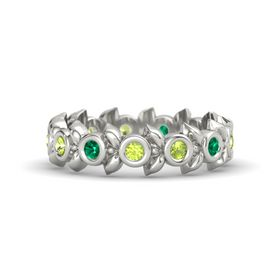 Round Peridot Palladium Ring with Emerald & Peridot