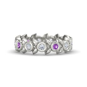Round Amethyst Platinum Ring with Diamond