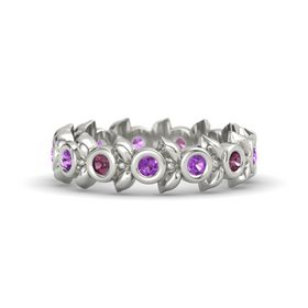 Round Amethyst Platinum Ring with Rhodolite Garnet and Amethyst