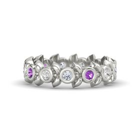 Round Amethyst Platinum Ring with White Sapphire and Diamond