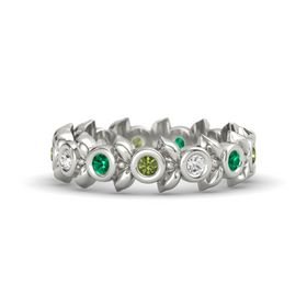 Round White Sapphire Platinum Ring with Emerald and Green Tourmaline