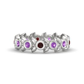 Round Amethyst Sterling Silver Ring with Amethyst and Red Garnet