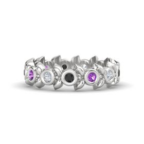 Round Amethyst Sterling Silver Ring with Diamond and Black Diamond