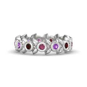 Round Amethyst Sterling Silver Ring with Red Garnet and Rhodolite Garnet
