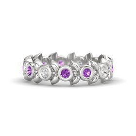 Round Amethyst Sterling Silver Ring with White Sapphire and Amethyst