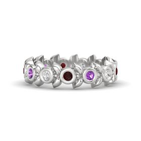 Round Amethyst Sterling Silver Ring with White Sapphire and Red Garnet
