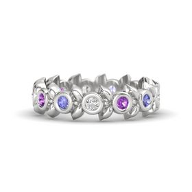 Round Amethyst Sterling Silver Ring with Tanzanite and White Sapphire