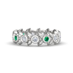 Round Emerald Sterling Silver Ring with Diamond